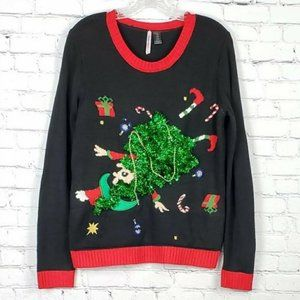Love By Design Black Ugly Elf Christmas Sweater L